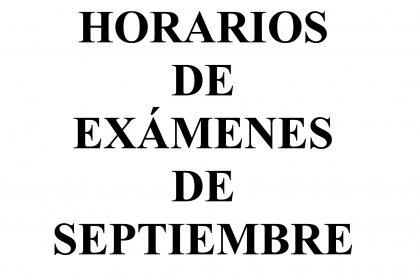 Calendario exámenes septiembre
