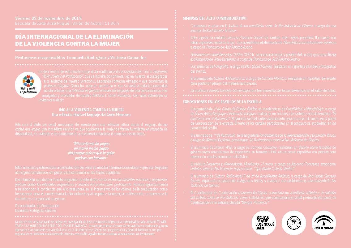 Programa día de la no violencia contra la mujer